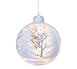 LIGHTED GLASS ORNAMENT WITH SNOW SCENE