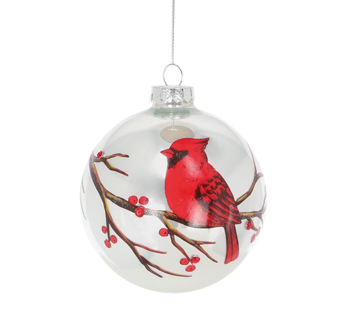GLASS ORNAMENT WITH RED CARDINAL IN TREE