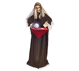 ANIMATED WITCH WITH CRYSTAL BALL