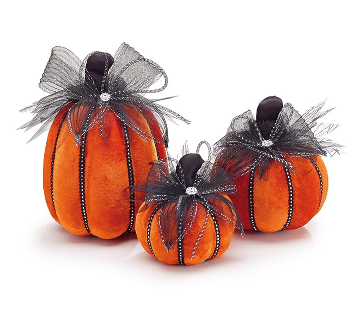 ORANGE VELVET VARIED SIZE PUMPKIN DECOR