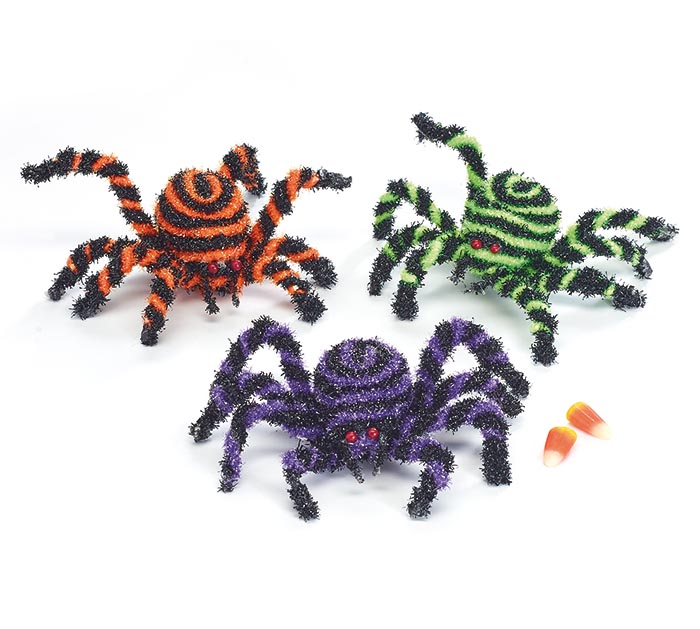 ASSORTED SWIRL COLOR FOAM SPIDER SET