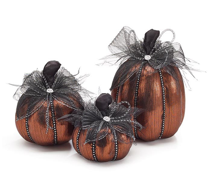 BURNT ORANGE METALLIC PUMPKIN DECOR
