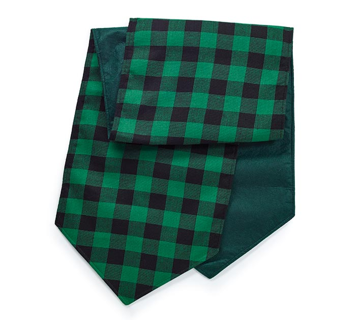 GREEN AND BLACK PLAID TABLE RUNNER