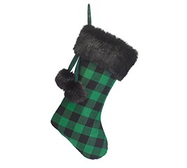 GREEN AND BLACK PLAID BUFFALO STOCKING