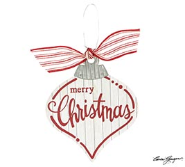 MERRY CHRISTMAS WHITE AND RED ORNAMENT