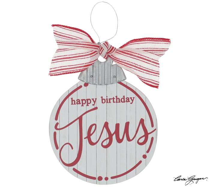 HAPPY BIRTHDAY JESUS ORNAMENT RED/WHITE
