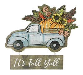 IT'S FALL Y'ALL RUSTIC BLUE WALL HANGING
