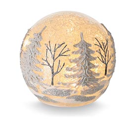 LIGHT UP GLASS BALL WITH WINTER SCENE
