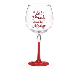 EAT DRINK  BE MERRY STEMMED WINE GLASS