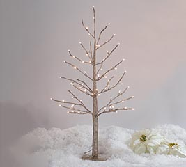 """35"""" CHAMPAGNE GLITTER TREE TWINKLE LIGHT"""