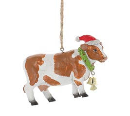 BROWN SPOTTED COW SHAPE ORNAMENT