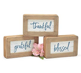 WOOD BLOCK SHELF SITTERS WITH MESSAGES