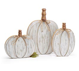 LAYERED WOOD PUMPKINS IN VARIED SIZES