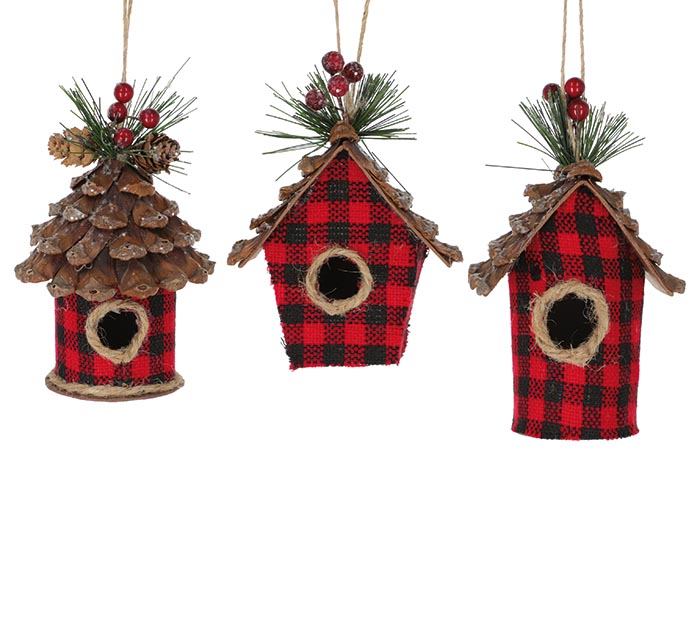 RED PLAID BIRDHOUSE ORNAMENT ASSORTED