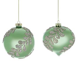 TEAL GREEN AND SILVER GLITTER ORNAMENT