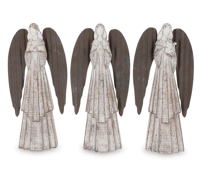 WHITE DISTRESSED ANGEL FIGURINES 3 POSES