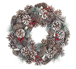 PINECONE WREATH WITH RED BERRIES