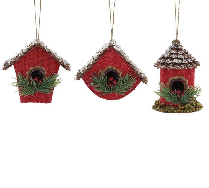 RED BURLAP BIRDHOUSE ORNAMENTS ASSORTED