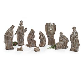BROWN WITH WHITE WASH 9 PC NATIVITY SET