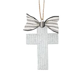 CORRUGATED TIN CROSS SHAPED ORNAMENT