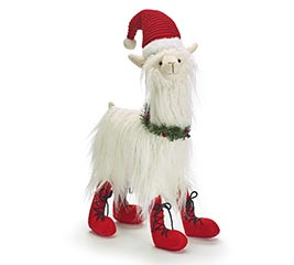 CHRISTMAS LLAMA WITH WREATH AND BOOTS