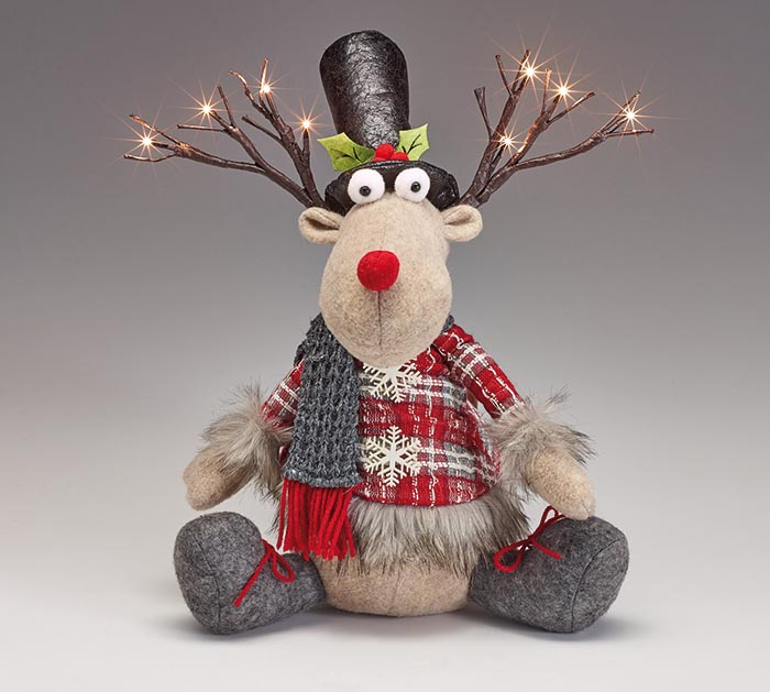 SITTING REINDEER WITH LED LIGHT ANTLERS