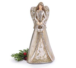 SILVER/GOLD ANGEL HOLDING HOLLY WREATH