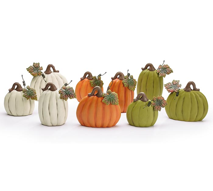 3 SIZES 3 COLORS PUMPKIN FIGURINES