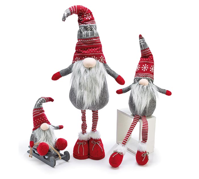 GNOME FAMILY GRAY BODY AND RED KNIT HAT