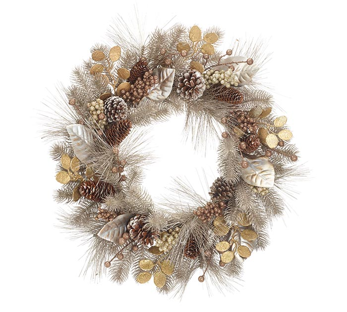 CHRISTMAS WREATH PEWTER COLOR WITH GOLD