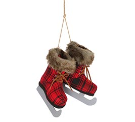 ORNAMENT RED AND BLACK PLAID ICE SKATES
