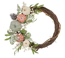 FALL PUMPKIN WREATH ORANGE/CREAM/GRAY
