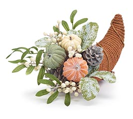 PUMPKINS AND PINECONES IN CORNUCOPIA