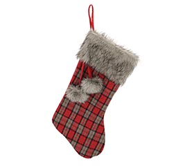 RED AND GRAY PLAID STOCKING WITH FUR
