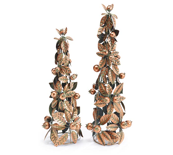 COPPER METAL LEAVES/BERRIES TREE