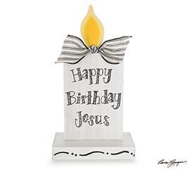 HAPPY BIRTHDAY JESUS CANDLE SHELF SITTER