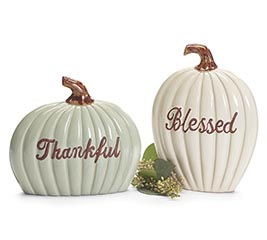 ASSORTED SIZE THANKFUL  BLESSED PUMPKIN
