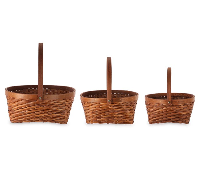 DARK BROWN WOODCHIP BASKET WITH HANDLE