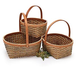 LIGHT BROWN WOODCHIP BASKET WITH HANDLE