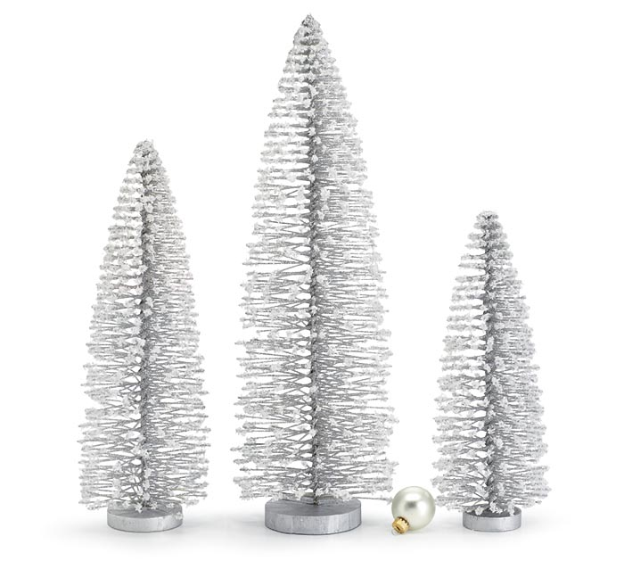 SILVER BOTTLE BRUSH TREES WITH SNOW
