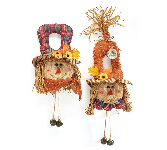 BOY AND GIRL SCARECROW DOOR HANGERS