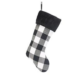 WHITE/BLACK PLAID STOCKING WITH FUR CUFF