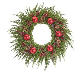 "31"" WREATH WITH RED ORNAMENTS/BERRIES"