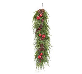 "59"" GARLAND WITH RED BERRIES/ORNAMENTS"