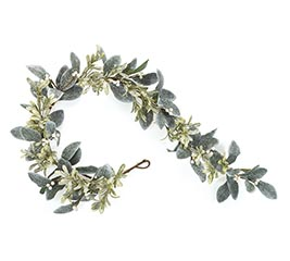 MISTLETOE LEAVES AND WHITE BERRY GARLAND