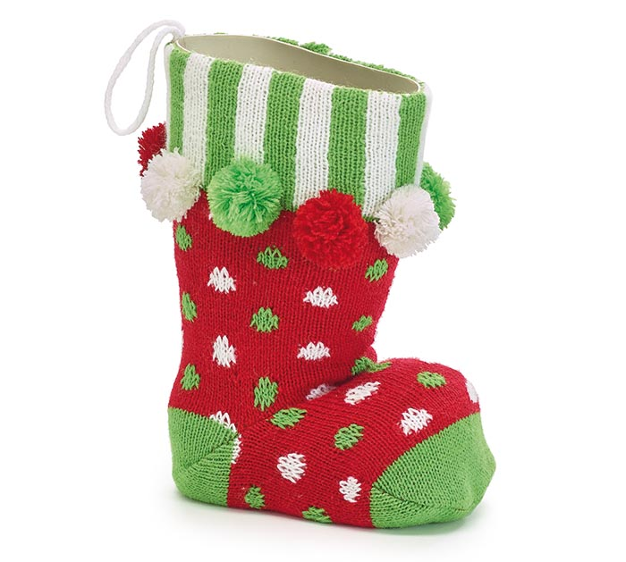 DECOR/VASE KNIT SANTA BOOT WITH POM POM
