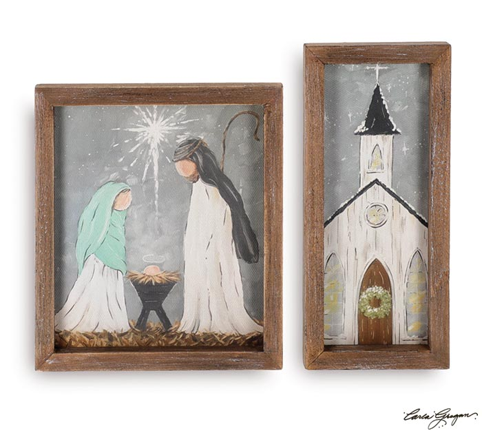 WOOD FRAME CANVAS CHRISTMAS SCENES