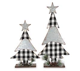 WHITE/BLACK PLAID CHRISTMAS TREE DECOR