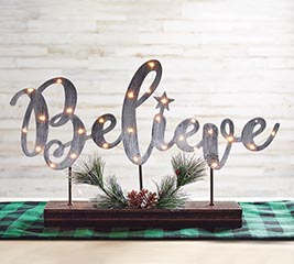 SILVER LIGHTED BELIEVE METAL SIGN