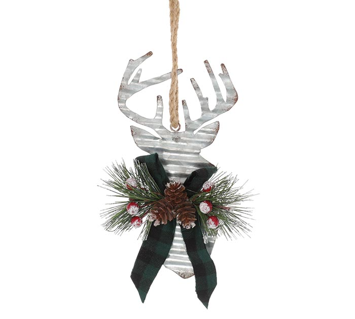 CORRUGATED TIN DEER HEAD ORNAMENT